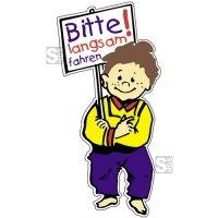 Hartschaum-Schild Kinderfigur mit Schild und Wunschtext, mehrfarbig