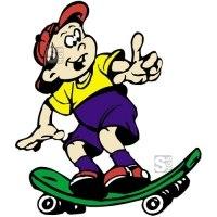 Hartschaum-Schild Kinderfigur mit Skateboard, mehrfarbig