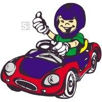Hartschaum-Schild Kinderfigur mit Spielzeugauto, mehrfarbig