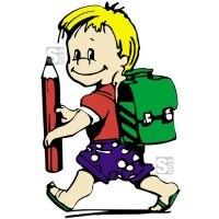 Hartschaum-Schild Kinderfigur mit Stift und Schulranzen, mehrfarbig