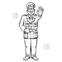 Hartschaum-Schild Polizeifigur, einfarbig