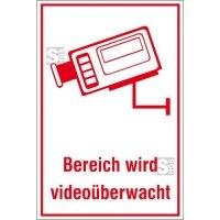 Hinweis-Kombischild, Bereich wird videoüberwacht