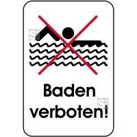 Hinweisschild, Baden verboten!, 400 x 600 mm