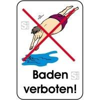 Hinweisschild, Baden verboten!, 400 x 600 mm, mehrfarbig