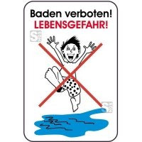 Hinweisschild, Baden verboten!, LEBENSGEFAHR!, 400 x 600 mm