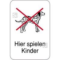 Hinweisschild, Hier spielen Kinder, Hunde verboten, 400 x 600 mm