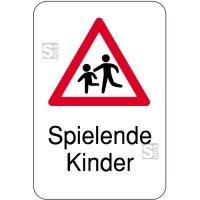 Hinweisschild, Spielende Kinder, 400 x 600 mm