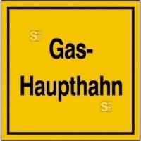 Hinweisschild für Gasanlagen, Gas-Haupthahn