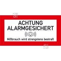 Hinweisschild für Schutzschränke, Achtung alarmgesichert