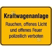 Hinweisschild für Tankanlagen und Garagen, Kraftwagenanlage ... (gelb / schwarz)