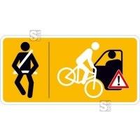 Hinweisschild für Taxen und beförderungspflichtige Fahrzeuge, Bitte anschnallen und Vorsicht...