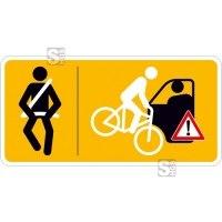 Hinweisschild für Taxen und beförderungspflichtige Fahrzeuge, Bitte anschnallen und Vorsicht beim Öffnen der Tür