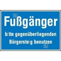 Hinweisschild zur Baustellenkennzeichnung, Fußgänger bitte ...