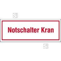 Hinweisschild zur Baustellenkennzeichnung, Notschalter Kran