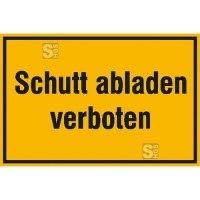 Hinweisschild zur Baustellenkennzeichnung, Schutt abladen verboten (gelb / schwarz)