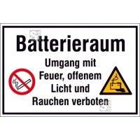 Hinweisschild zur Betriebskennzeichnung -Batterieraum Umgang mit Feuer, ...-