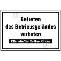 Hinweisschild zur Betriebskennzeichnung, Betreten des Betriebsgeländes verboten