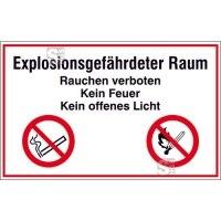 Hinweisschild zur Betriebskennzeichnung Explosionsgefährdeter Raum Rauchen verboten ...