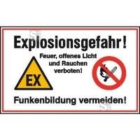 Hinweisschild zur Betriebskennzeichnung -Explosionsgefahr! Feuer, offenes Licht und ...-