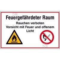 Hinweisschild zur Betriebskennzeichnung Feuergefährdeter Raum Rauchen verboten ...