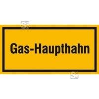 Hinweisschild zur Betriebskennzeichnung Gas-Haupthahn