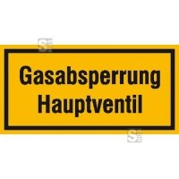 Hinweisschild zur Betriebskennzeichnung Gasabsperrung Hauptventil