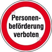 Hinweisschild zur Betriebskennzeichnung, Personenbeförderung verboten