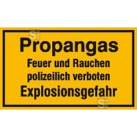 Hinweisschild zur Betriebskennzeichnung -Propangas Feuer und Rauchen ...-