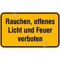 Hinweisschild zur Betriebskennzeichnung Rauchen, offenes Licht und Feuer verboten
