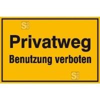 Hinweisschild zur Grundbesitzkennzeichnung, Privatweg Benutzung verboten