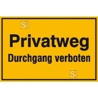 Hinweisschild zur Grundbesitzkennzeichnung, Privatweg Durchgang verboten