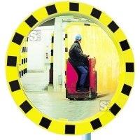 Industriespiegel Vialux®, schwarz / gelb, rund