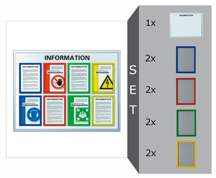 Infotafel Komplett-Set -Safetyline-, inkl. 1 Infotafel und 8 Klapprahmen in Signalfarben