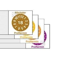 Kabelprüfplaketten mit Jahresfarbe (1-6 J.),2018 - 2026, Prüftermin + Jahreszahl, Bogen