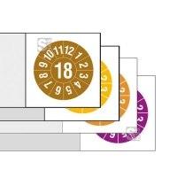 Kabelprüfplaketten mit Jahresfarbe (1-6 Jahre), 2018 / 2021, mit Jahreszahl, Bogen