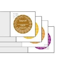 Kabelprüfplaketten mit Jahresfarbe (1-6 Jahre), 2018 / 2023 - 2021 / 2026, Geprüft nach DGUVV, Bogen