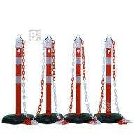 Kettenpfosten 4er-Set -Jumbo- aus Kunststoff, Höhe 1000 mm, Ø 63 mm, inkl. Absperrketten, max. Aufstelllänge 10 m, rot / weiß