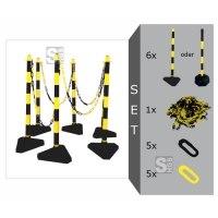 Kettenpfosten 6er-Set -Cloud- gelb / schwarz, aus Kunststoff, Höhe 950 mm, Ø 40 mm, inkl. Absperrkette, max. Aufstelllänge 10 m