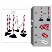 Kettenpfosten 6er-Set -Cloud- weiß / rot, aus Kunststoff, Höhe 950 mm, Ø 40 mm, inkl. Absperrkette, max. Aufstelllänge 10 m