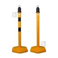 Kettenpfosten -Jumbo- aus PP, Höhe 1000 mm, Ø 63 mm, ca. 4,2 kg, gelb / schwarz