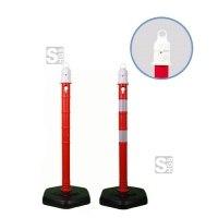 Kettenpfosten -Jumbo- aus PP, Höhe 1000 mm, Ø 63 mm, ca. 4,2 kg, rot / weiß