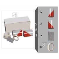 KfZ Warnmarkierung nach DIN 30710, Komplett-Set, 141 mm x 9 m, inkl. 2 Rollen Folie + Filzrakel und Kantenschutz, nur für ebene Flächen geeignet