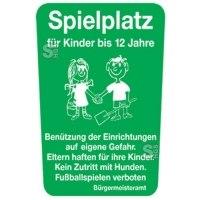 Kinder- und Spielplatzschild -Spielplatz für Kinder bis 12 Jahre-