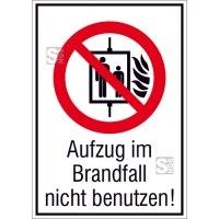 Kombischild, Aufzug im Brandfall nicht benutzen!