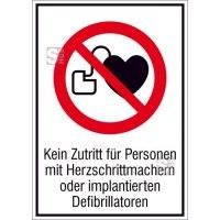 Kombischild, Kein Zutritt für Personen mit Herzschrittmachern oder implantierten Defibrillatoren