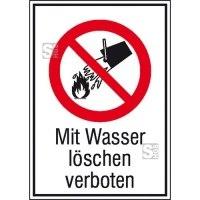 Kombischild, Mit Wasser löschen verboten