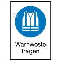Kombischild mit Gebotszeichen, Warnweste tragen