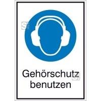 Kombischild mit Gebotszeichen und Zusatztext, Gehörschutz benutzen