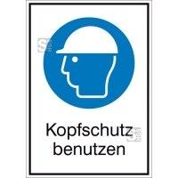 Kombischild mit Gebotszeichen und Zusatztext, Kopfschutz benutzen