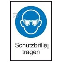 Kombischild mit Gebotszeichen und Zusatztext, Schutzbrille tragen